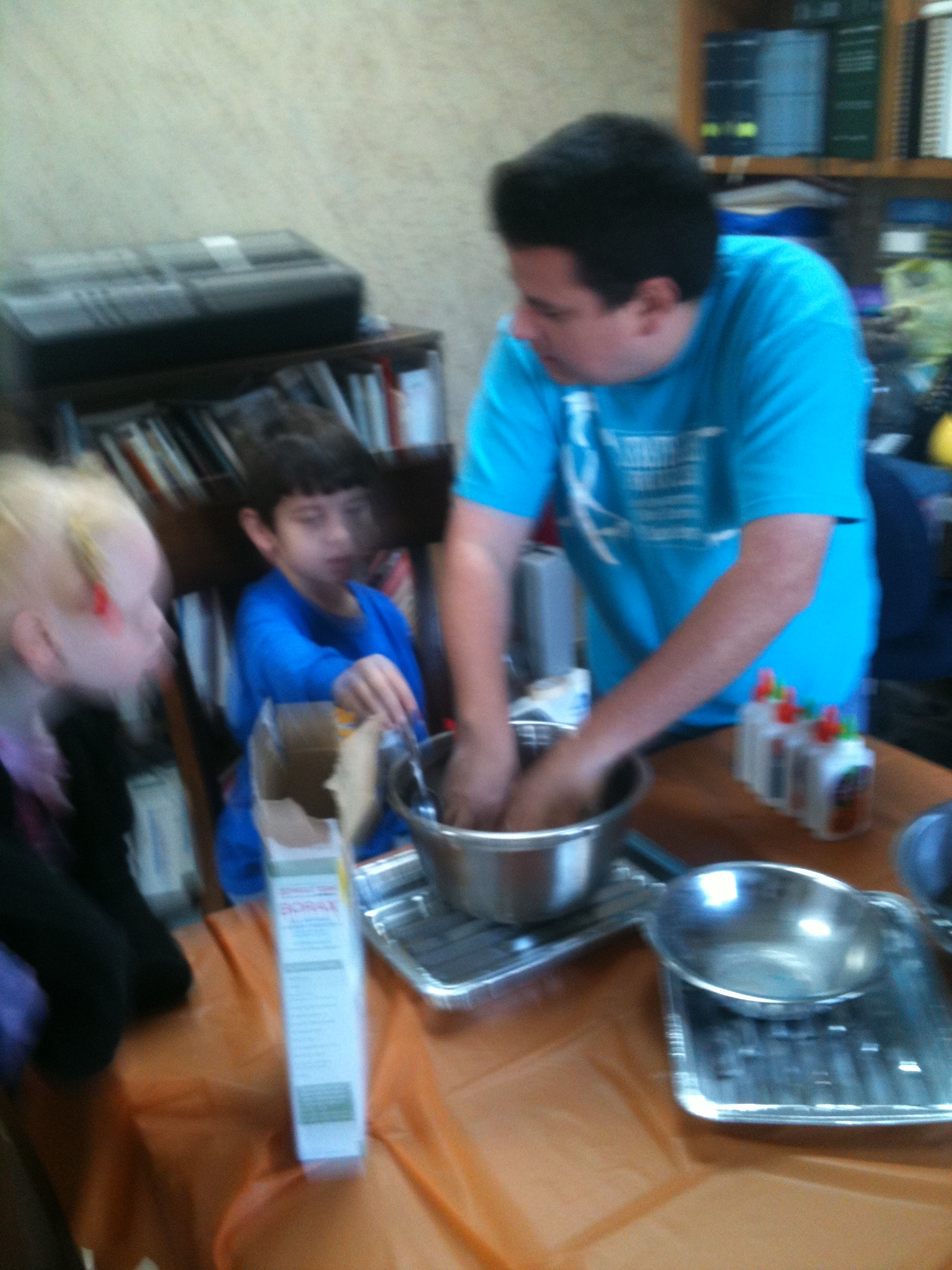 Mr. G leads a science experiment: slime for everyone
