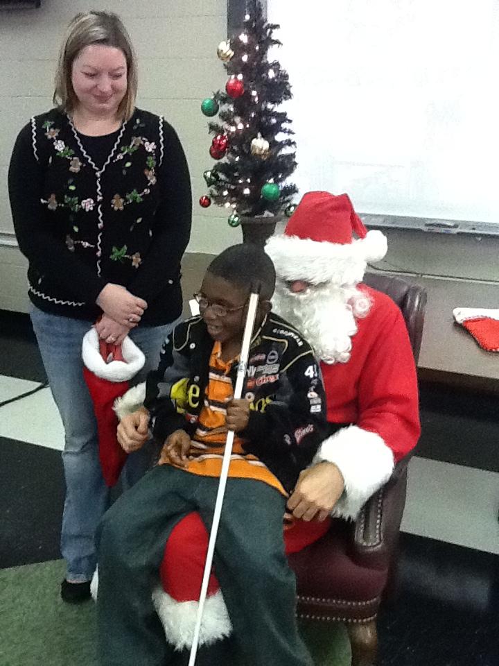 Braylon tells Santa his wish list; Santa had a cane!
