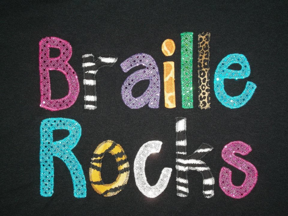 Braille Rocks logo from t-shirts