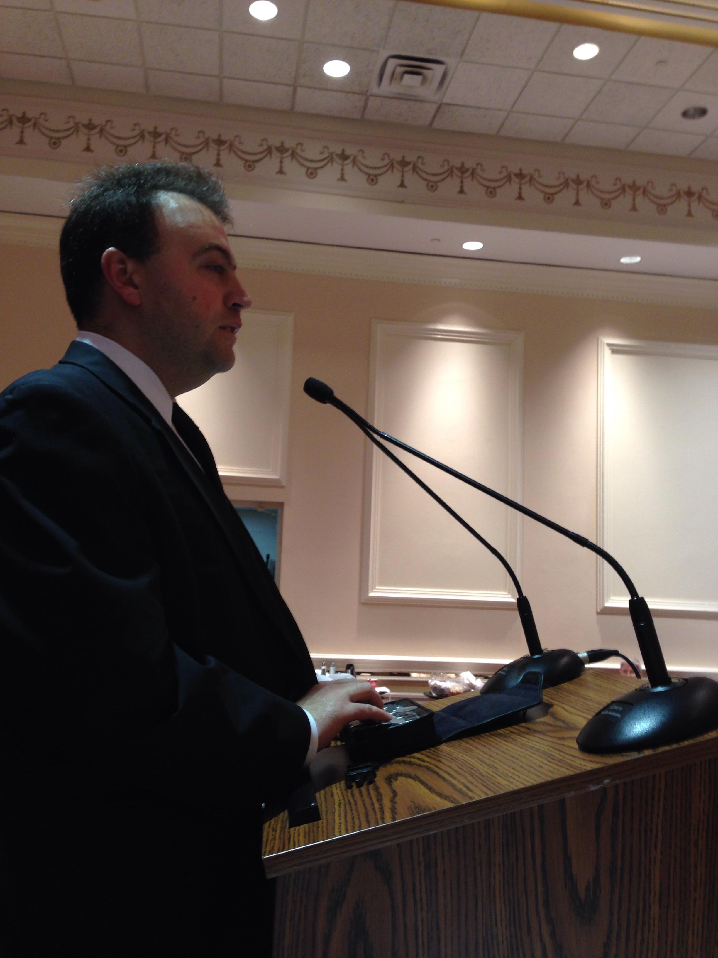 Mark Riccobono giving presidential speech.