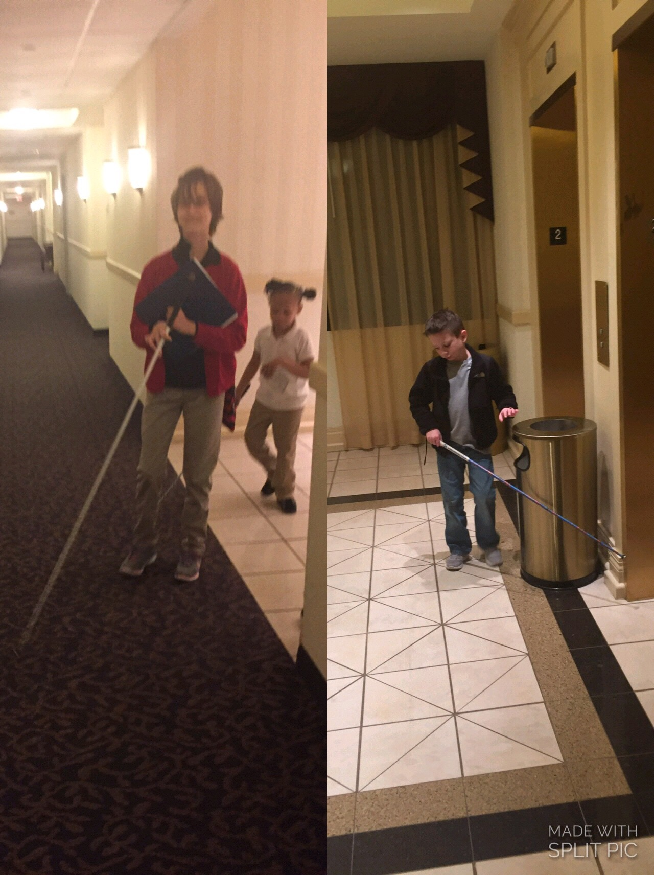 Picture shows a split screen. On the left: Lindsay leads Passion in find the girls' hotel room. On the right: Jordan uses his O&M skills to locate the elevator.