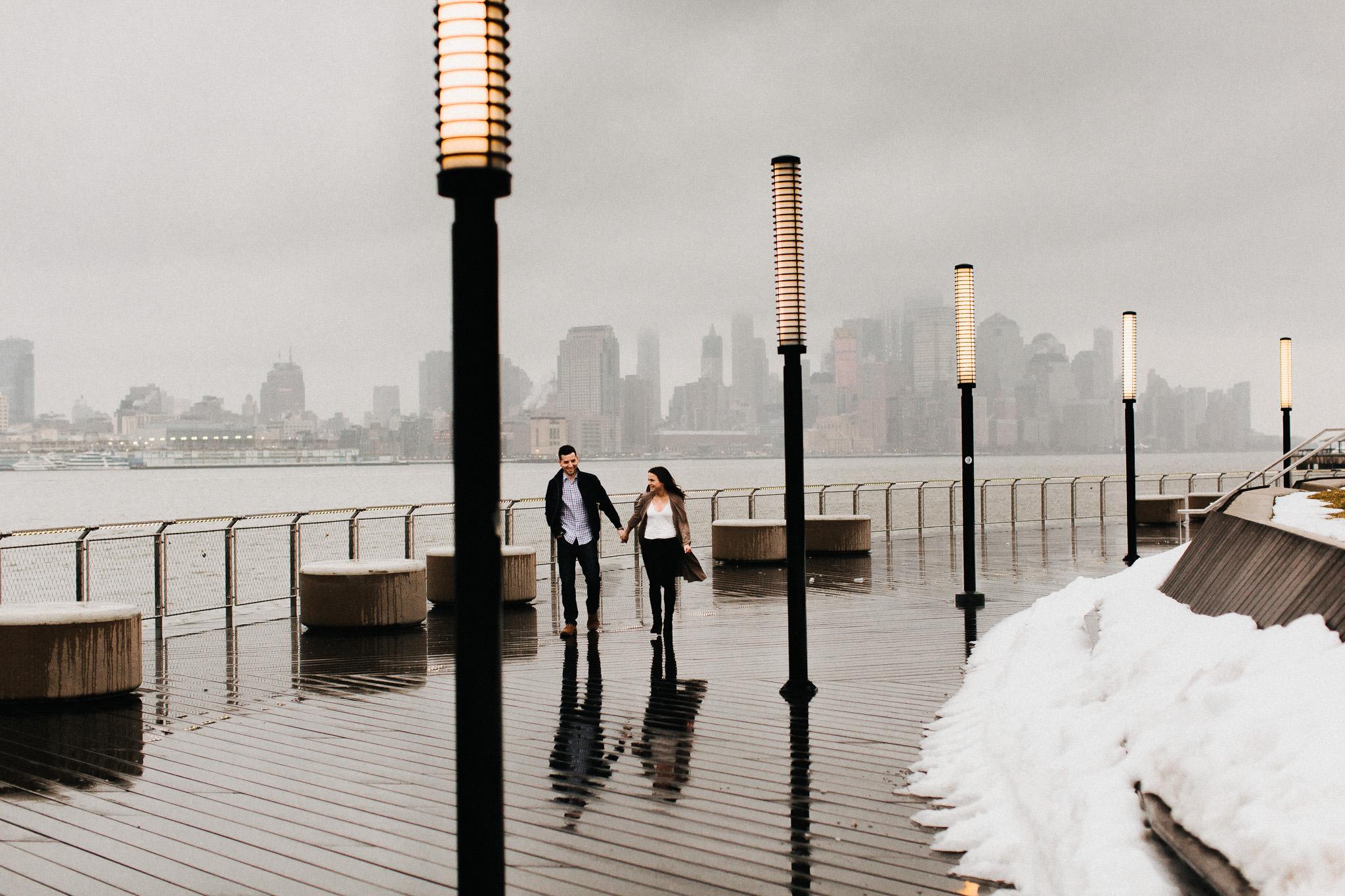 couple walking in the rain