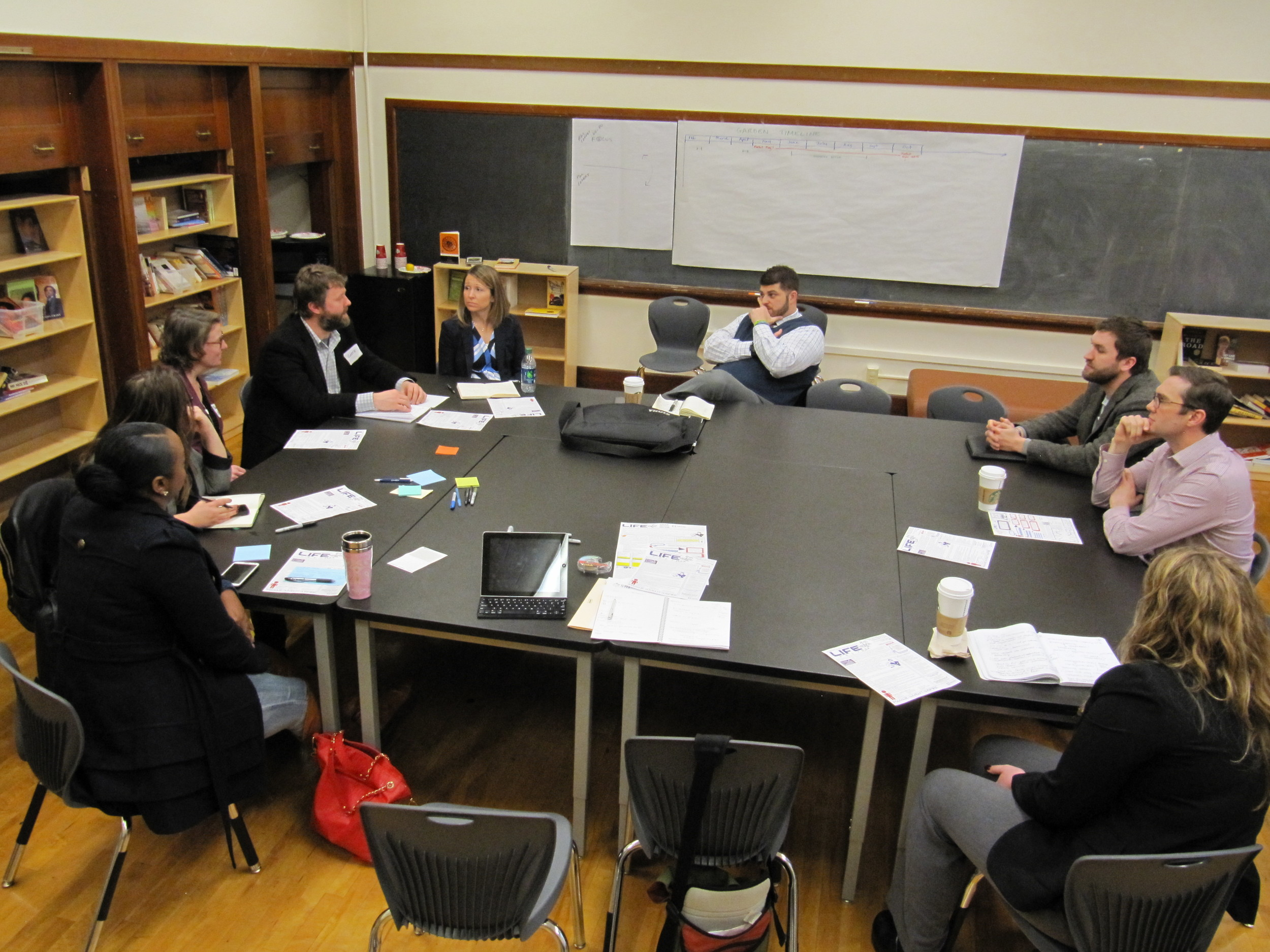 Innovating Principals CFG discusses school design while Danforth candidates observe.