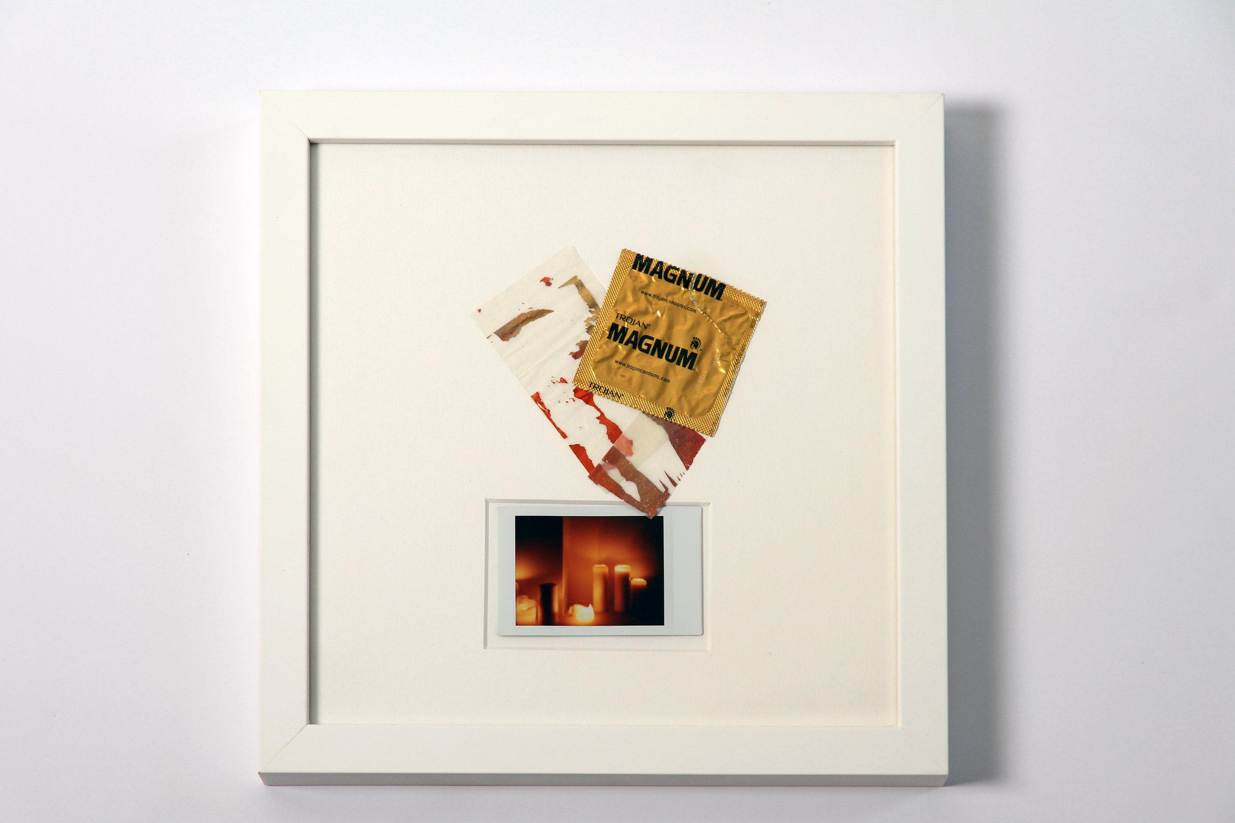 """Polaroid #6. 2016.   11"""" x 11"""" Framed w/ embellished matte."""