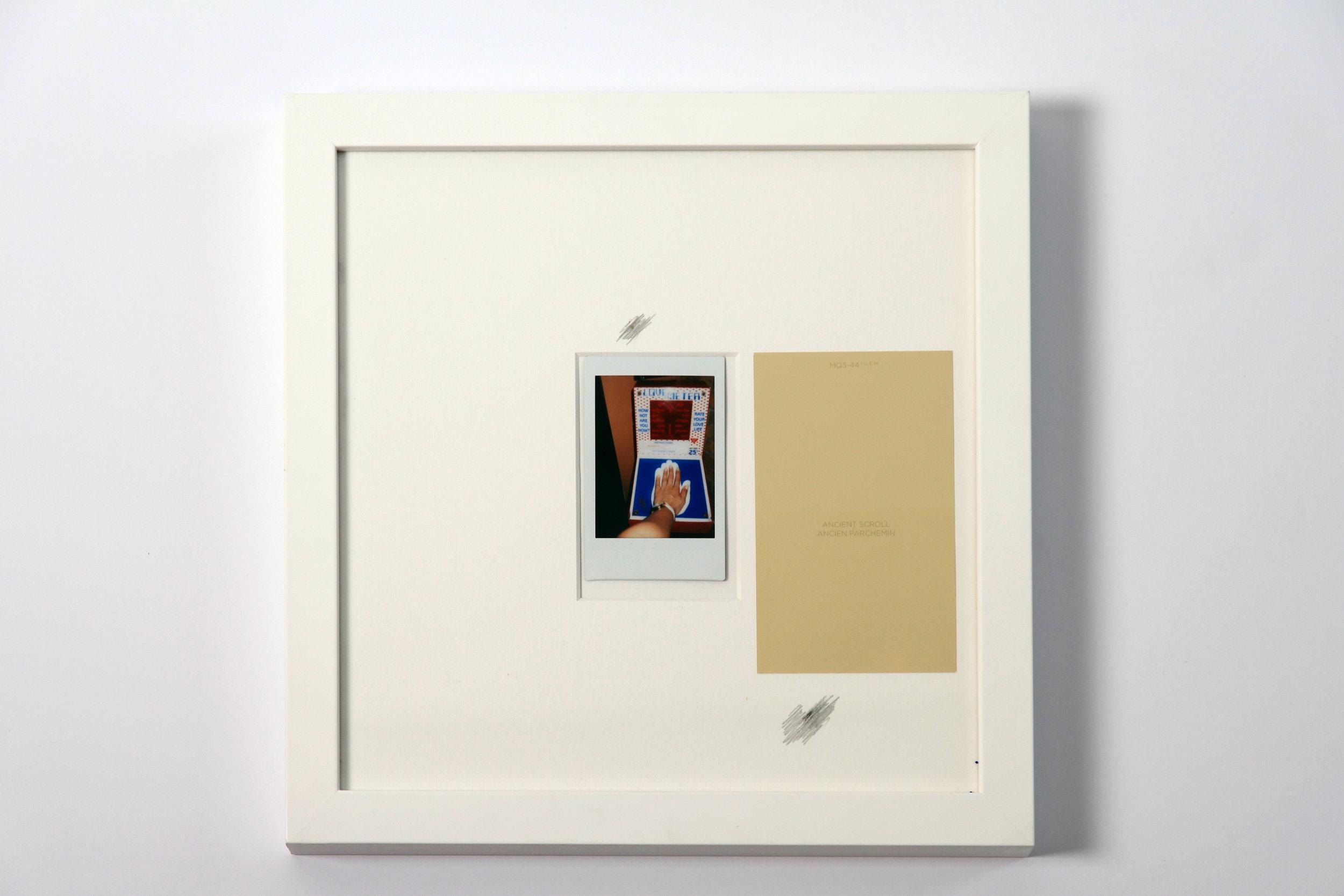 """Polaroid #7. 2016.   11"""" x 11"""" Framed w/ embellished matte."""