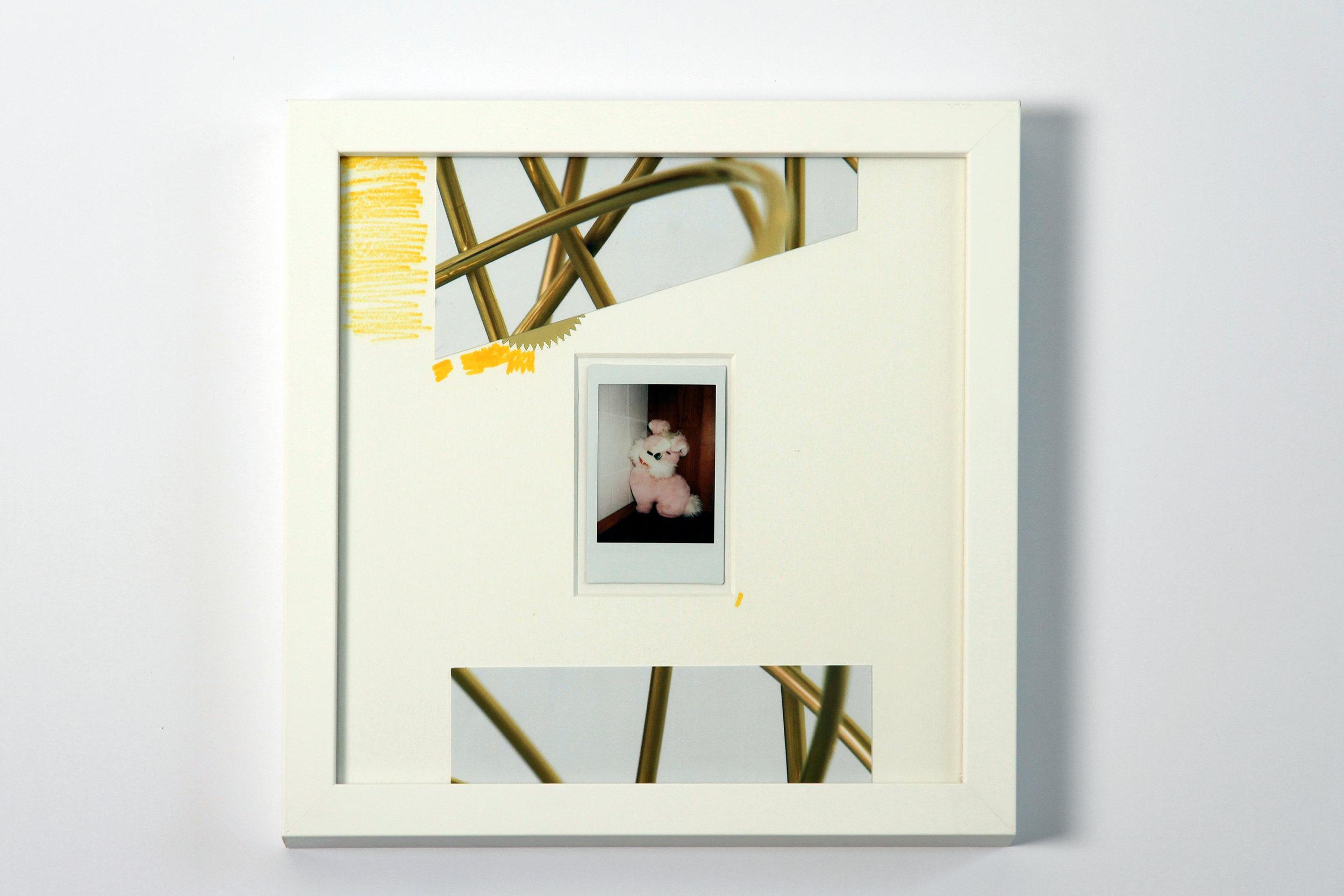 """Polaroid #9. 2016.   11"""" x 11"""" Framed w/ embellished matte."""