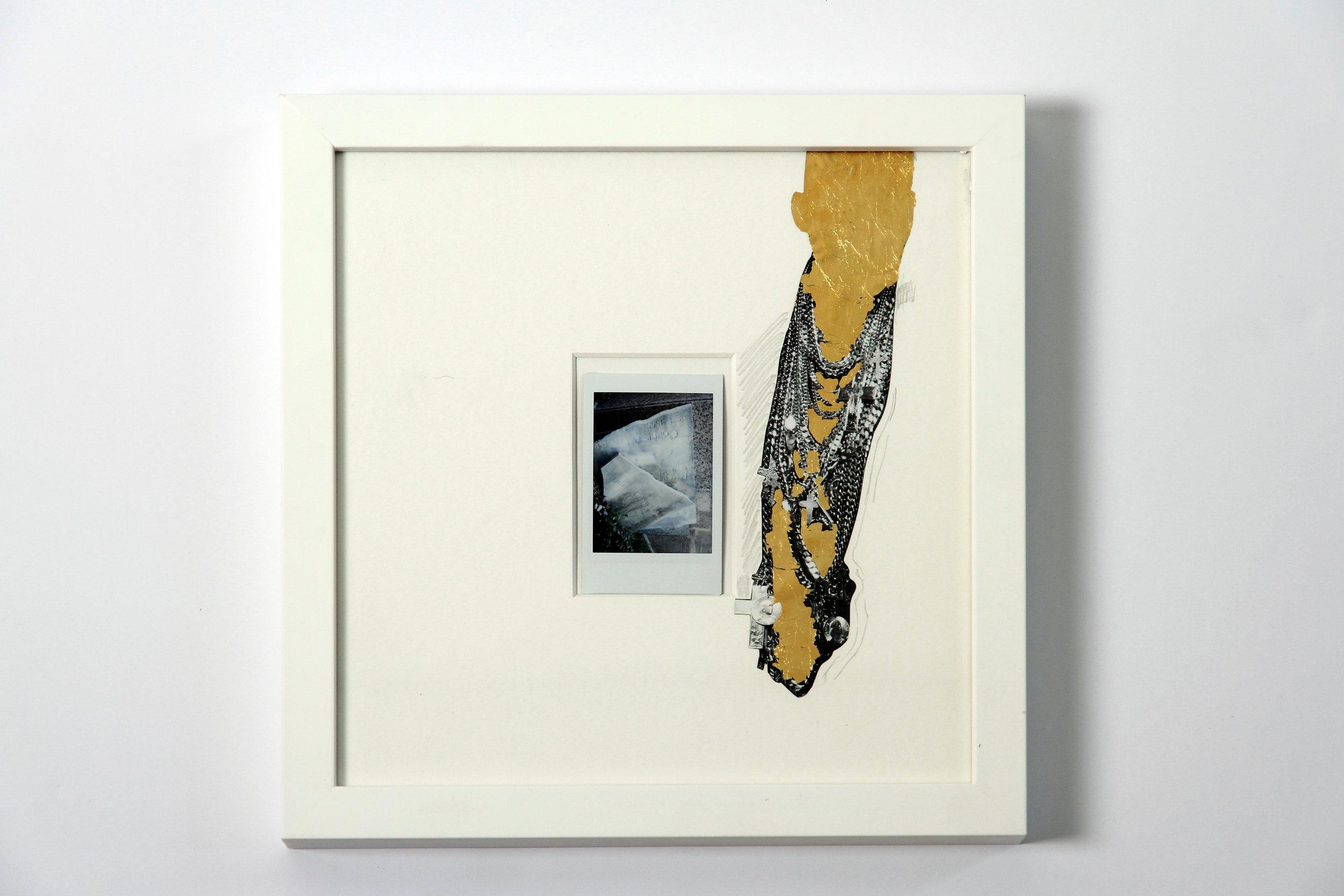 """Polaroid #14. 2016.   11"""" x 11"""" Framed w/ embellished matte."""