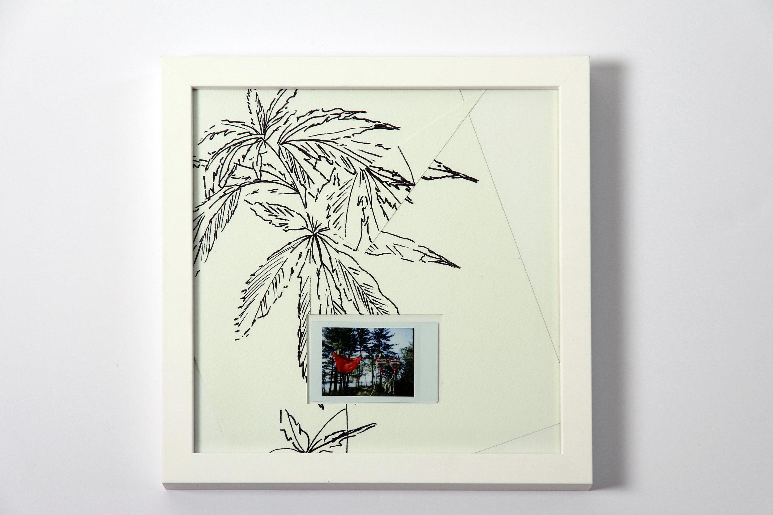 """Polaroid #15. 2016.   11"""" x 11"""" Framed w/ embellished matte."""