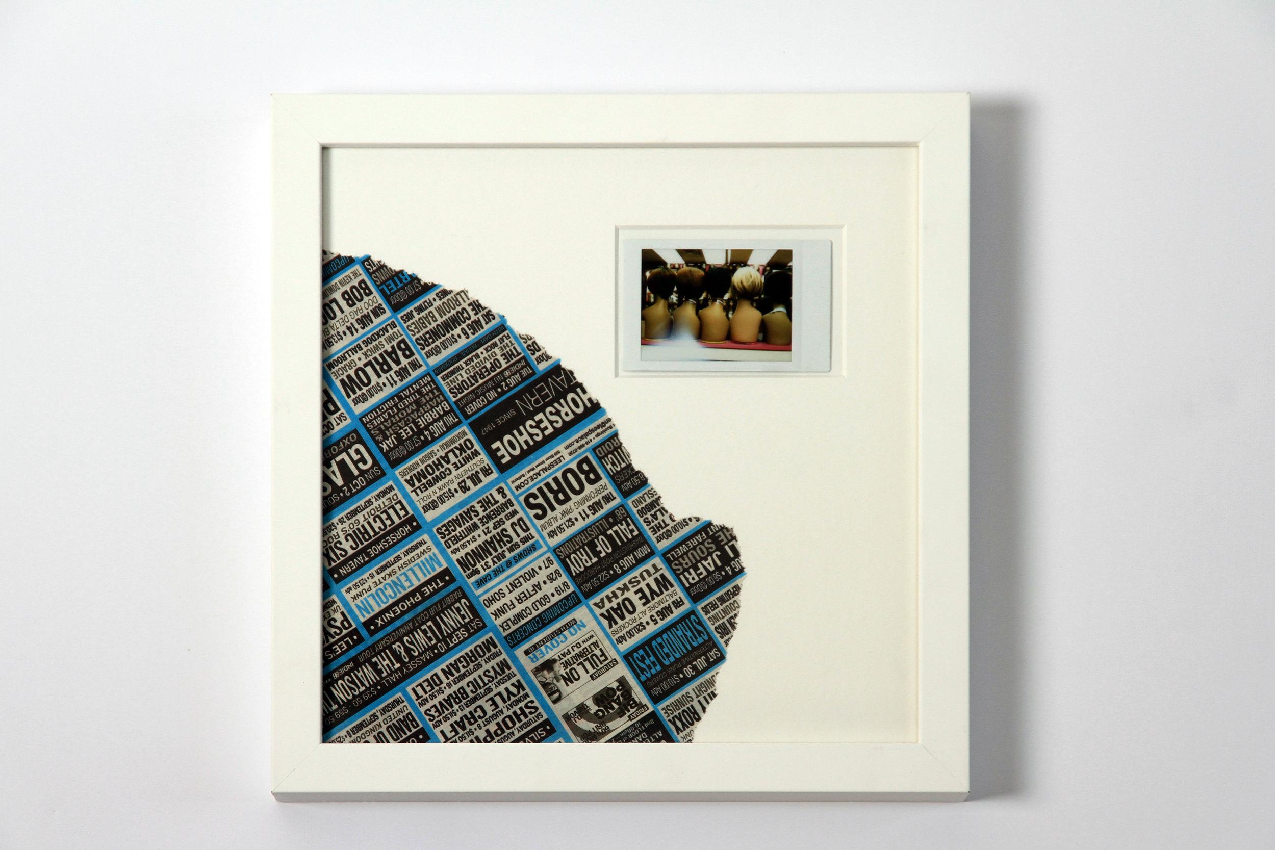 """Polaroid #16. 2016.   11"""" x 11"""" Framed w/ embellished matte."""