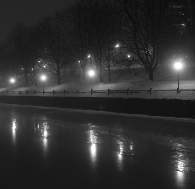 Frozen canal night