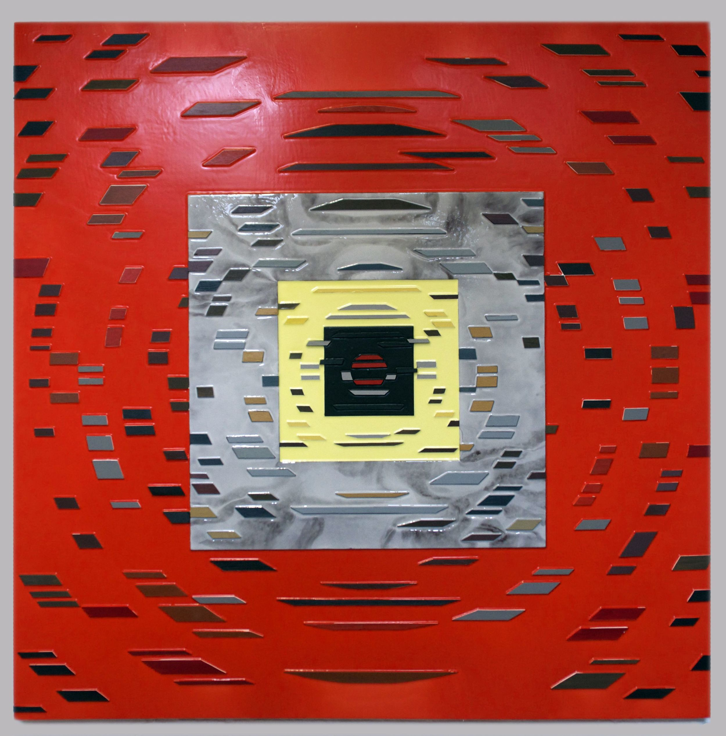 'Into the Red' Poured acrylic paint and wood on panel, 60 x 60 in, 2012