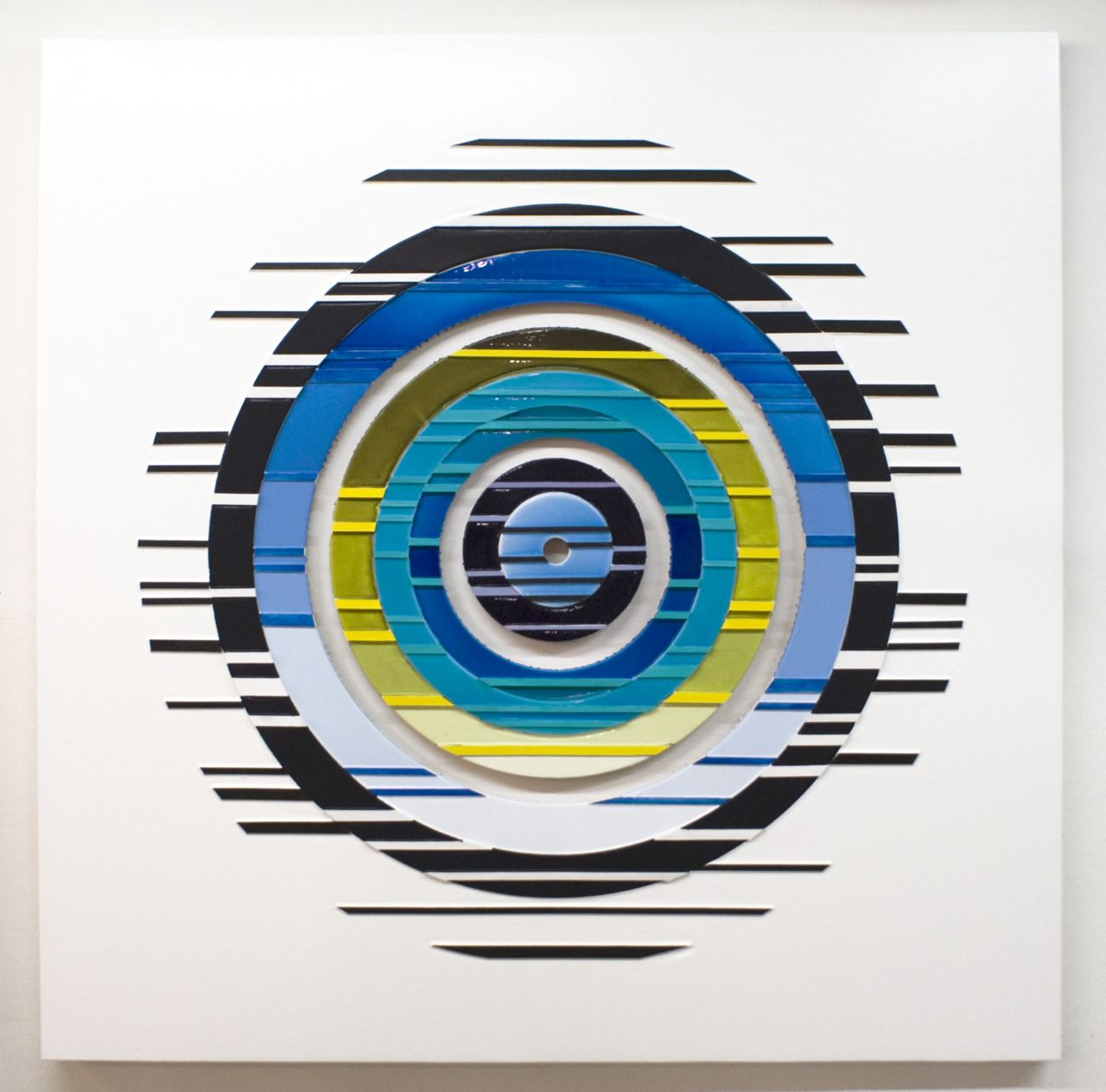 'Supersymmetry II, Poured acrylic paint and wood on panel, 60 x 60 in, 2012