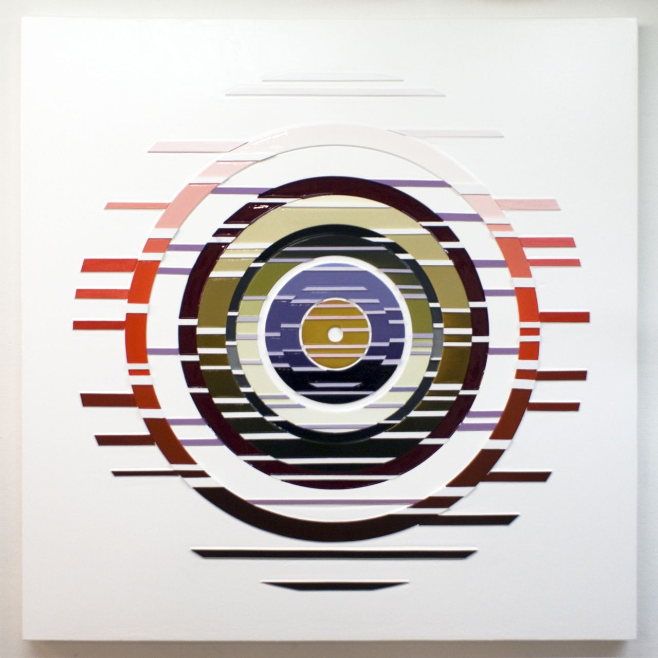'Supersymmetry' Poured acrylic paint and wood on panel, 60 x 60 in, 2012
