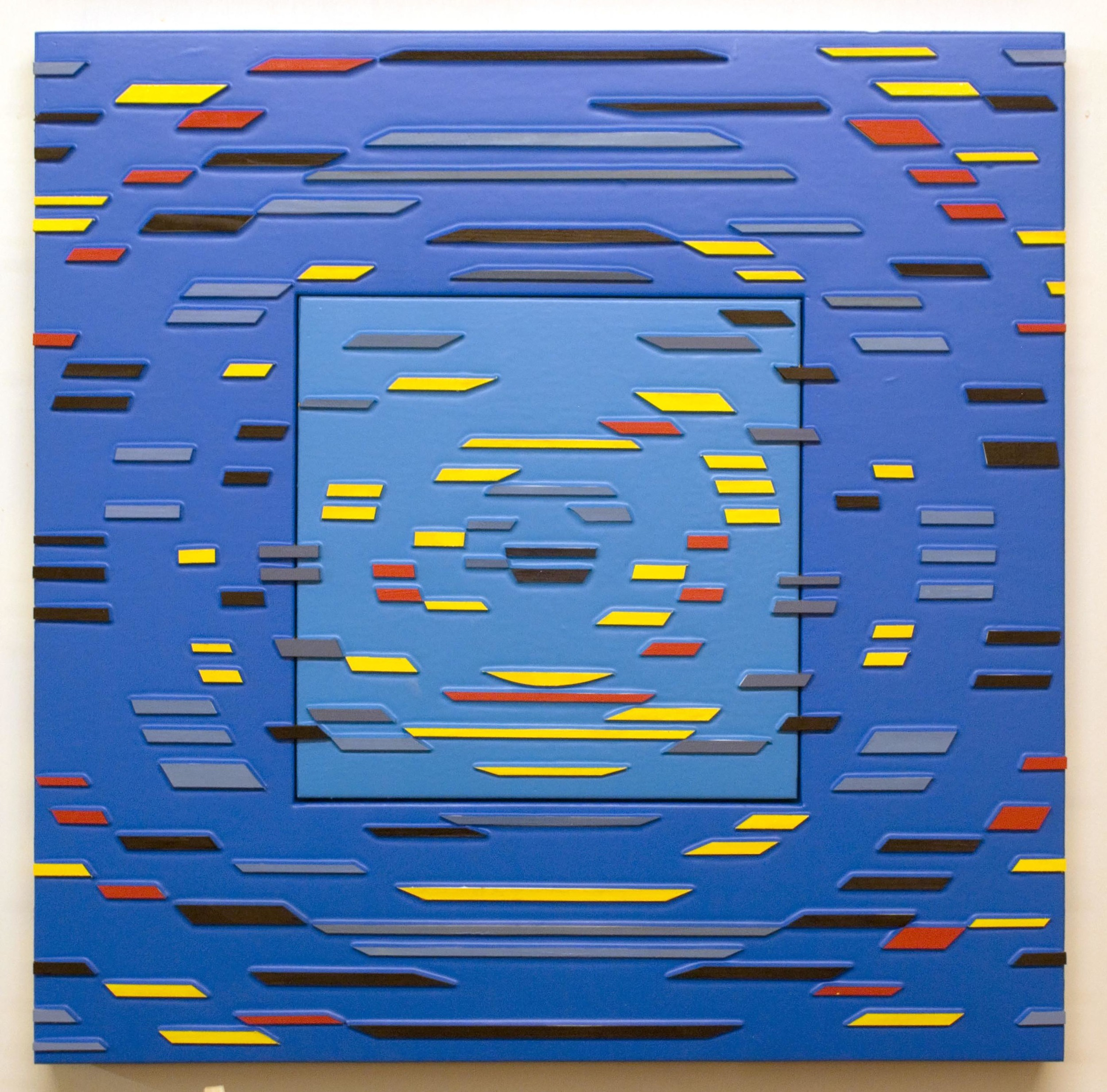 'Color Runs Prime' Poured acrylic paint and wood on panel, 36 x 36 in, 2011