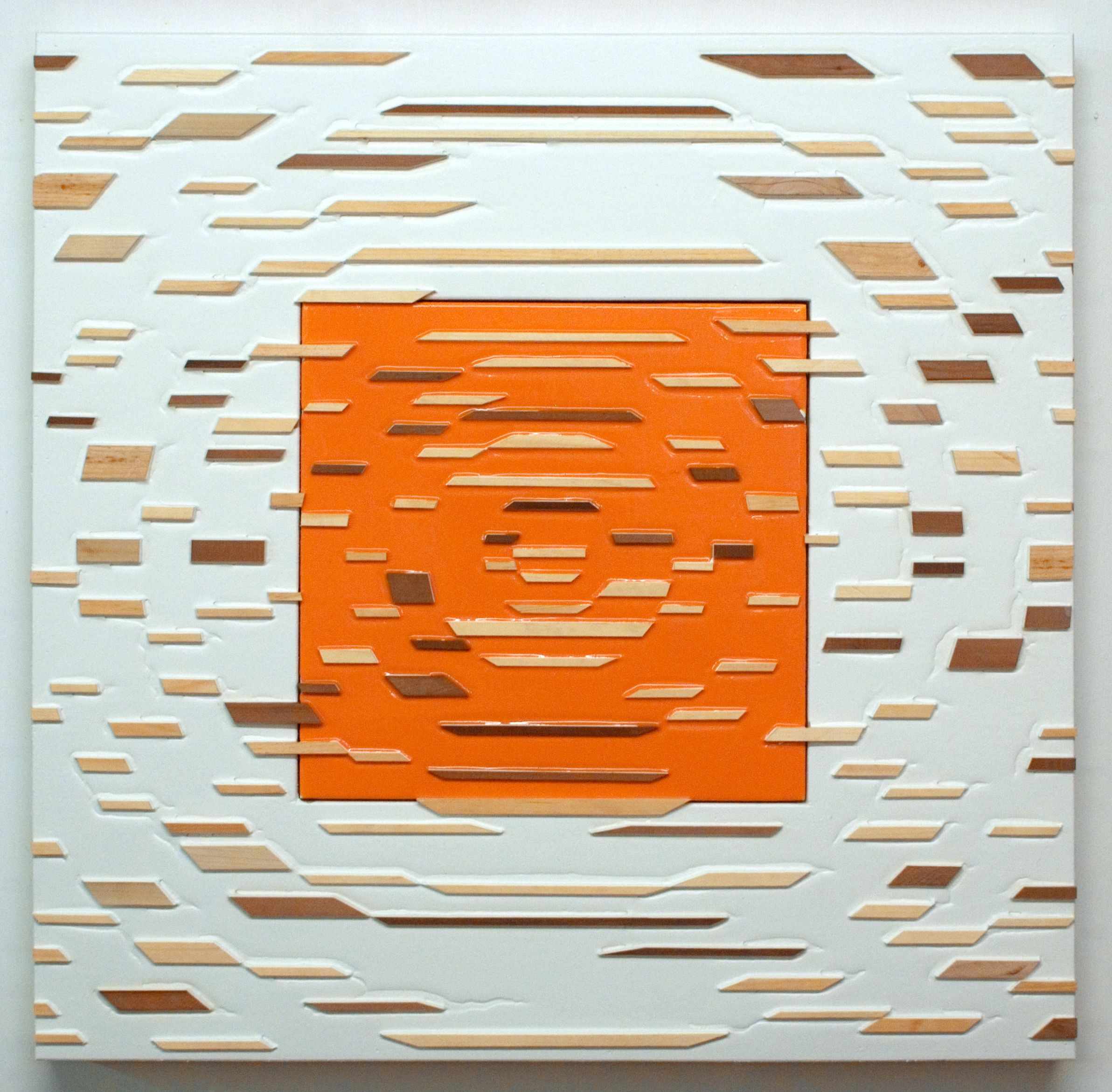 'Spigot' Poured acrylic paint and wood on panel, 36 x 36 in, 2011