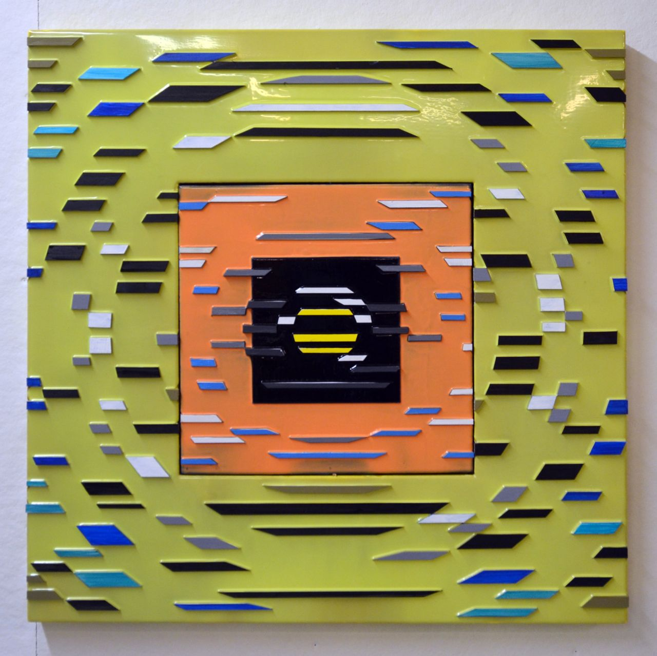 'Disco Bretheren' Poured acrylic paint and wood on panel, 36 x 36 in, 2011