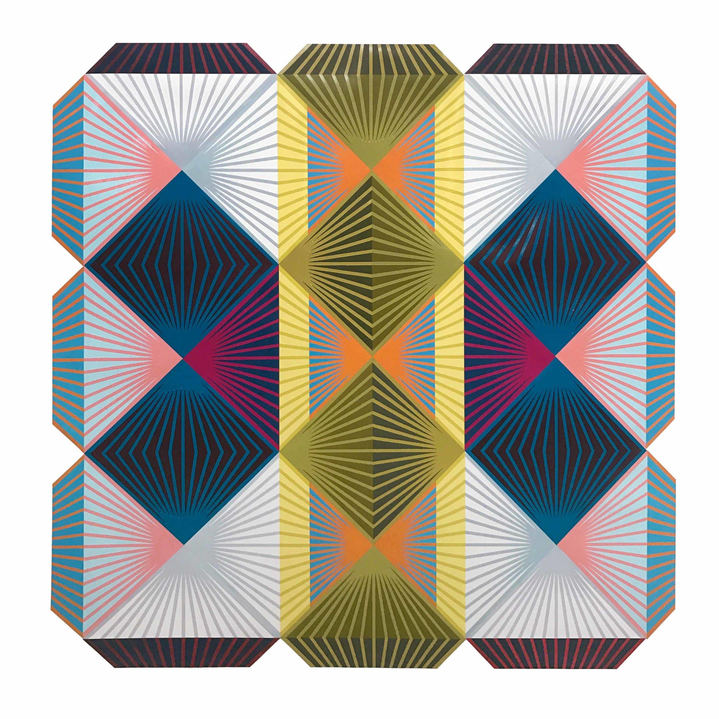 """""""Shibboleth"""" Woodblock mono print on paper, 73 x 73 inches"""
