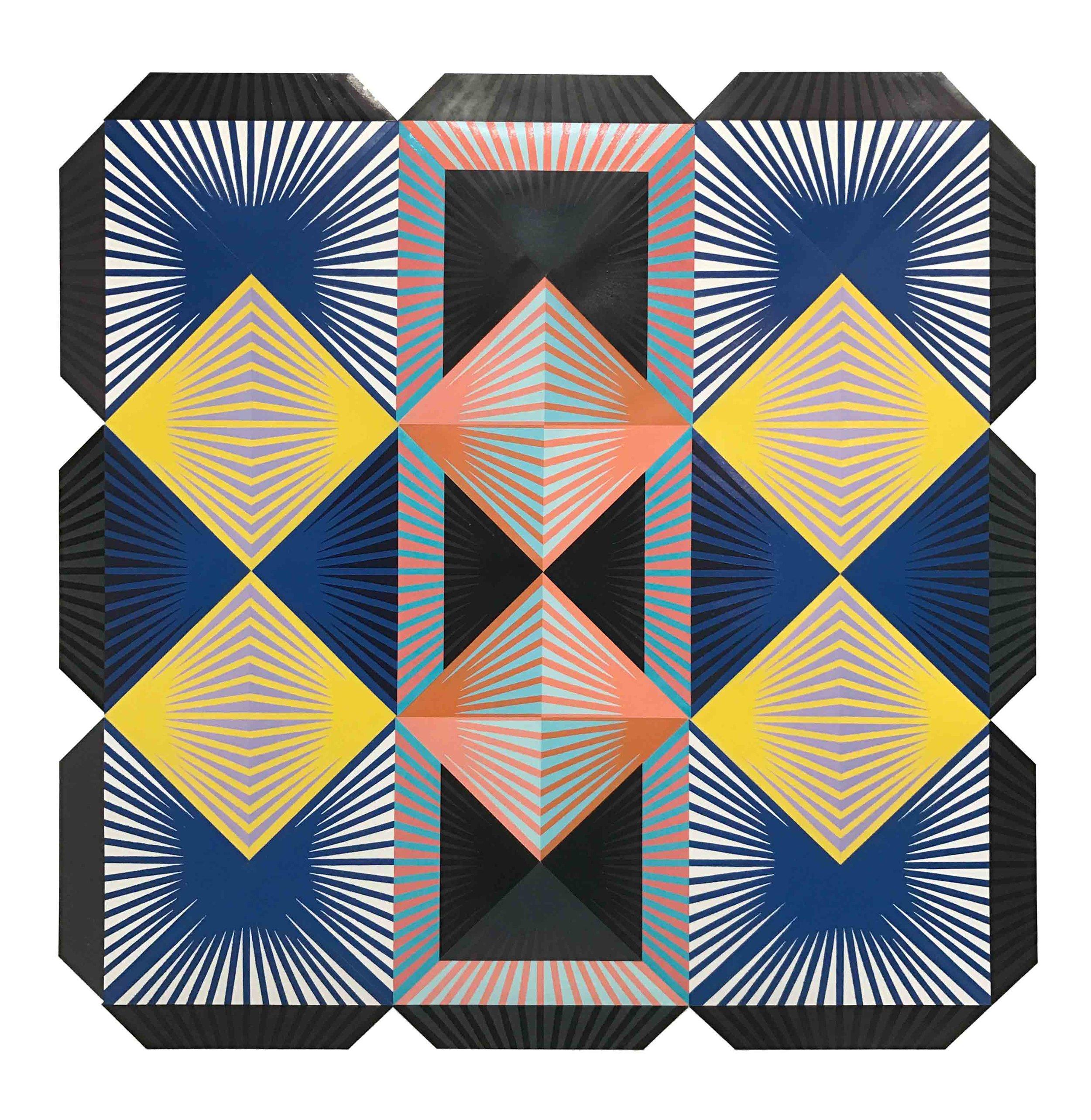 """""""Shibboleth"""" Woodblock mono print on paper, 48x 48 inches"""