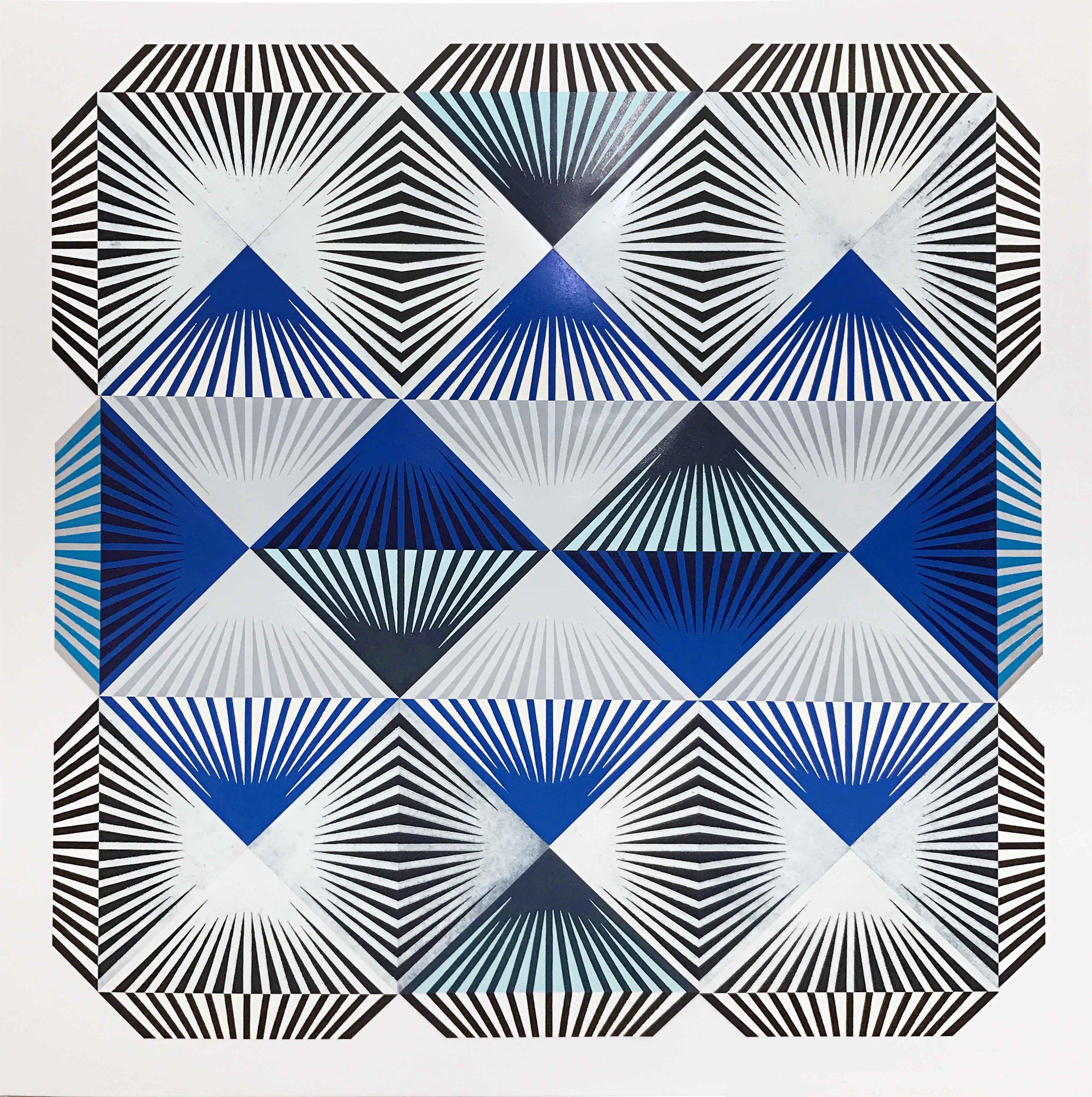 """""""Shibboleth"""" Woodblock mono print on paper, 48 x 48 inches"""