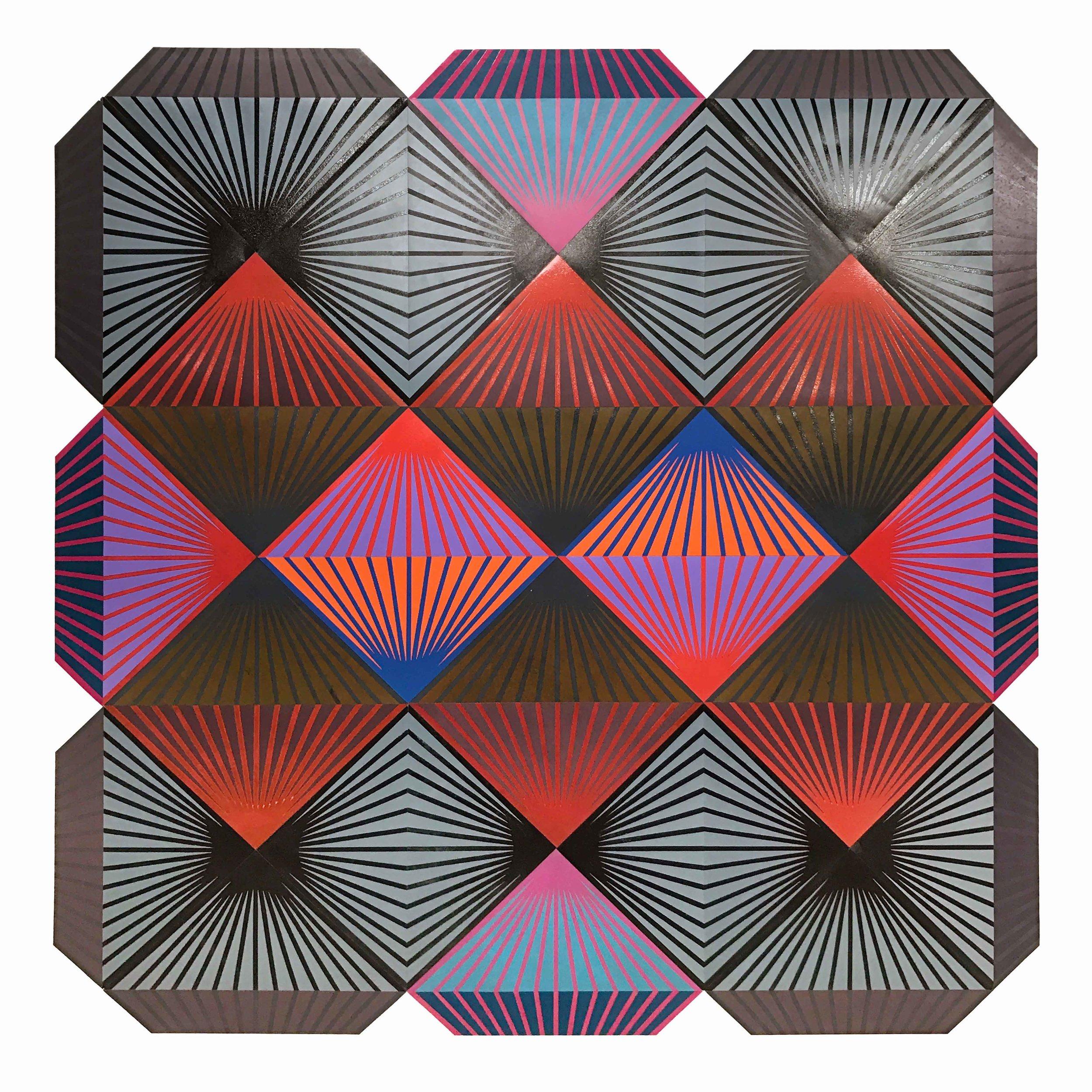"""""""Shibboleth"""" Woodblock mono print on paper, 73 x 73 inches, 2016"""