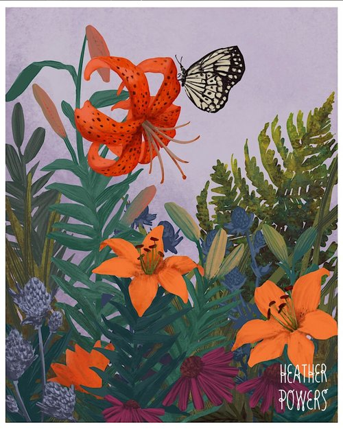Tiger Lily Garden Art Print Heather Powers Art