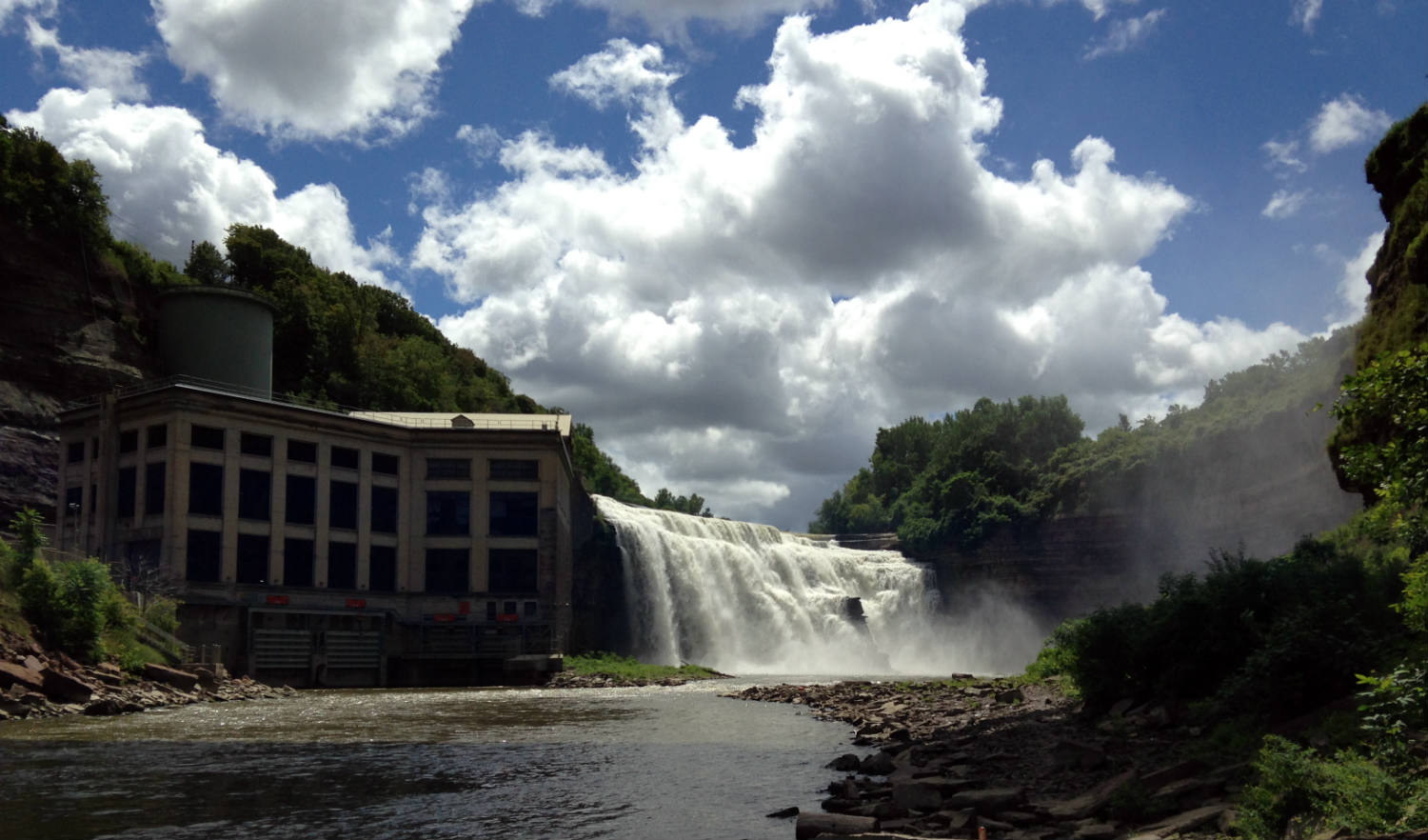 A hydroelectric power plant owned by Rochester Gas and Electric on the banks of Lower Falls Gorge located in Rochester, New York