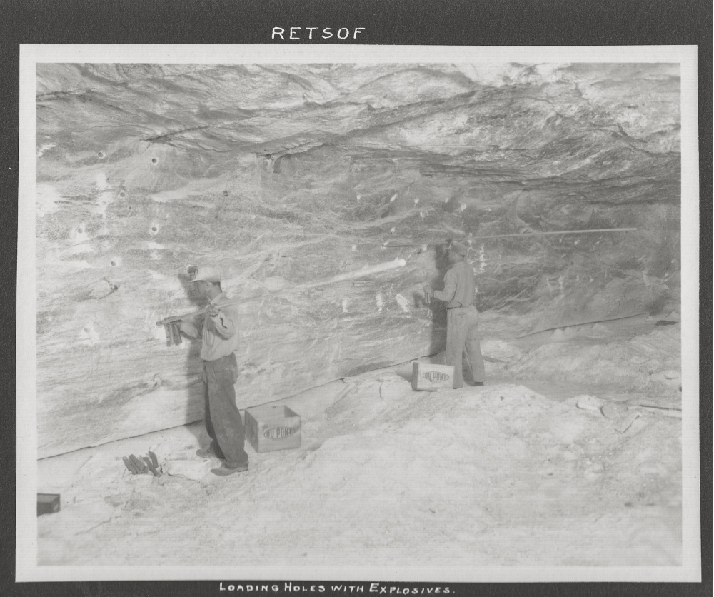 Loading holes with explosives in the Retsof Salt Mine