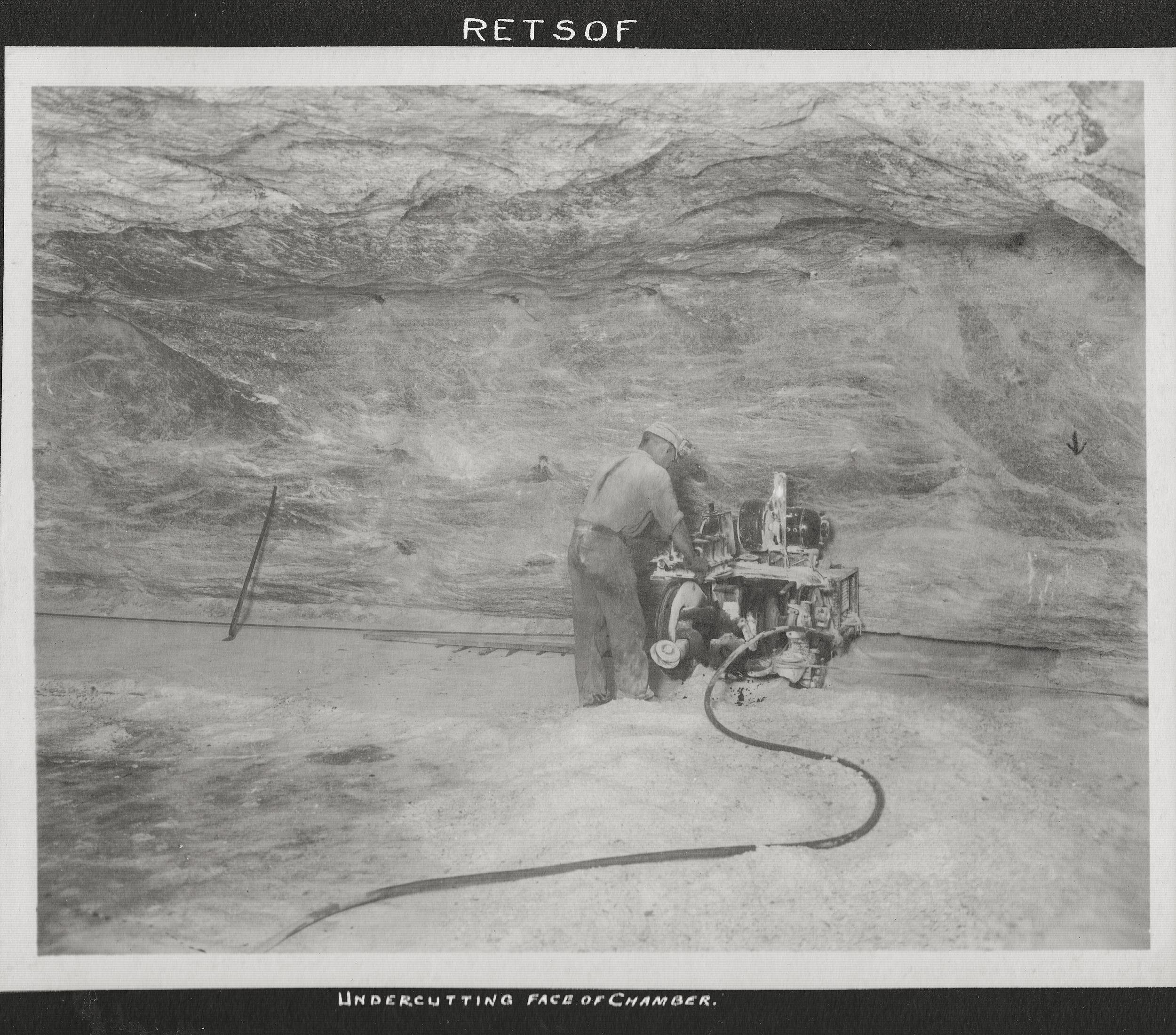 Undercutting face of chamber in the Retsof Salt Mine.
