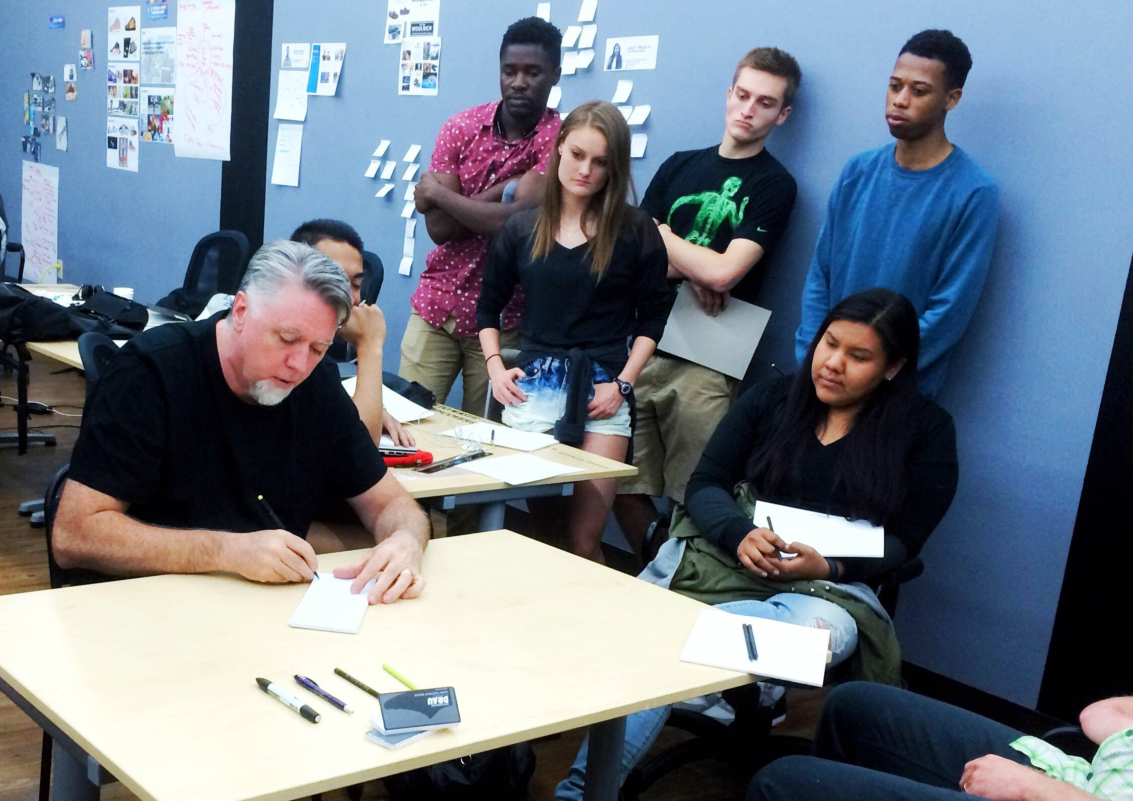 Matt stopped by to chat with the Brand Designers beforegiving a sketch demonstration.