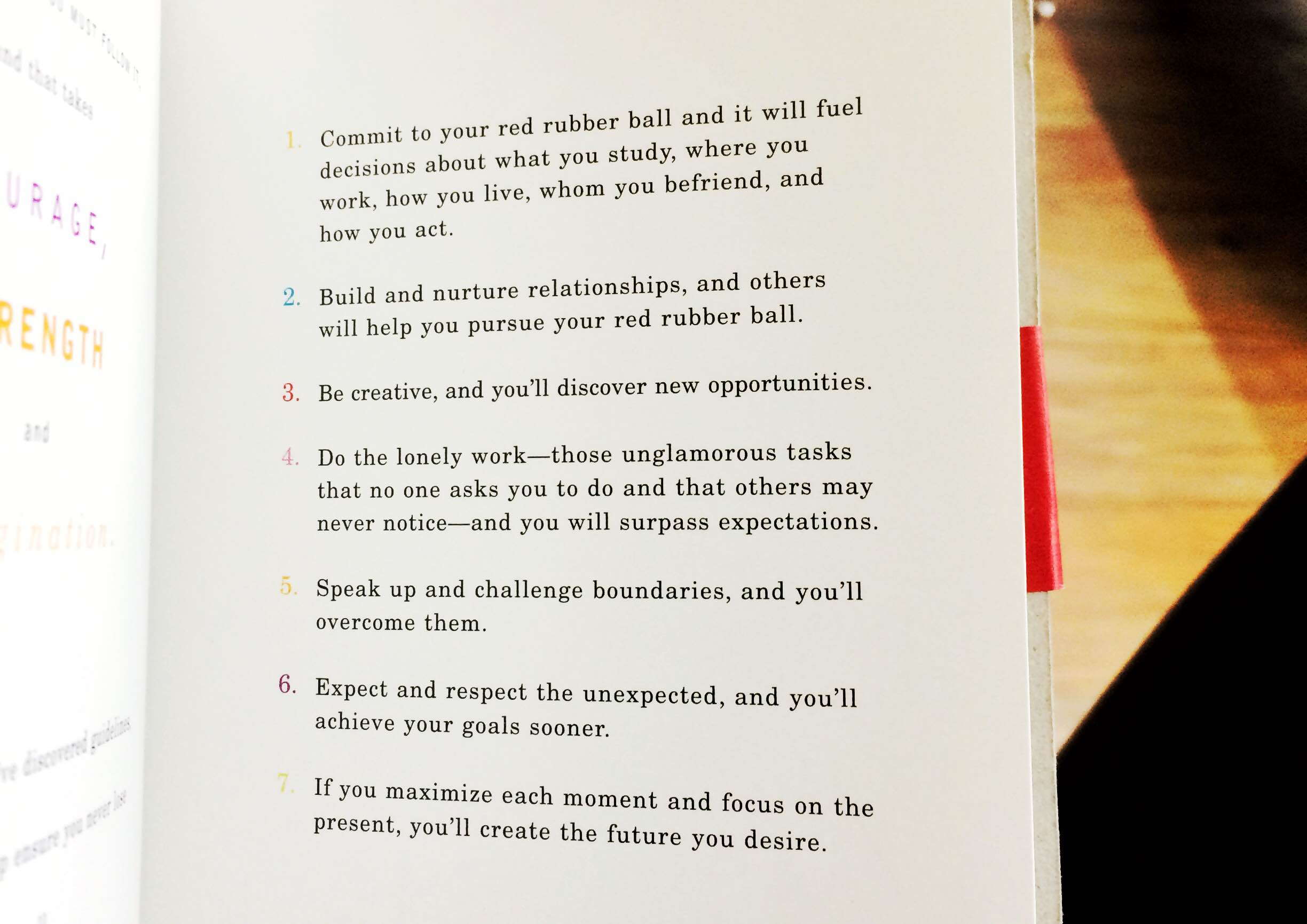 Advice from  Rules of the Red Rubber Ball .