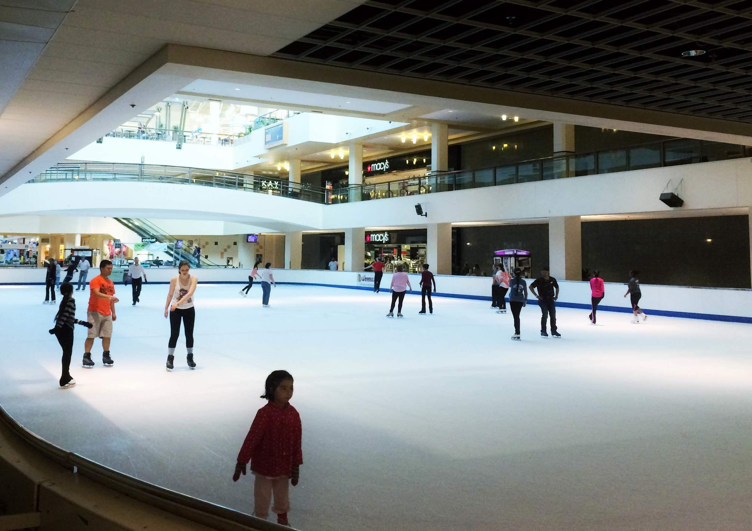 The ice skating rink inside Lloyd Center Mall.