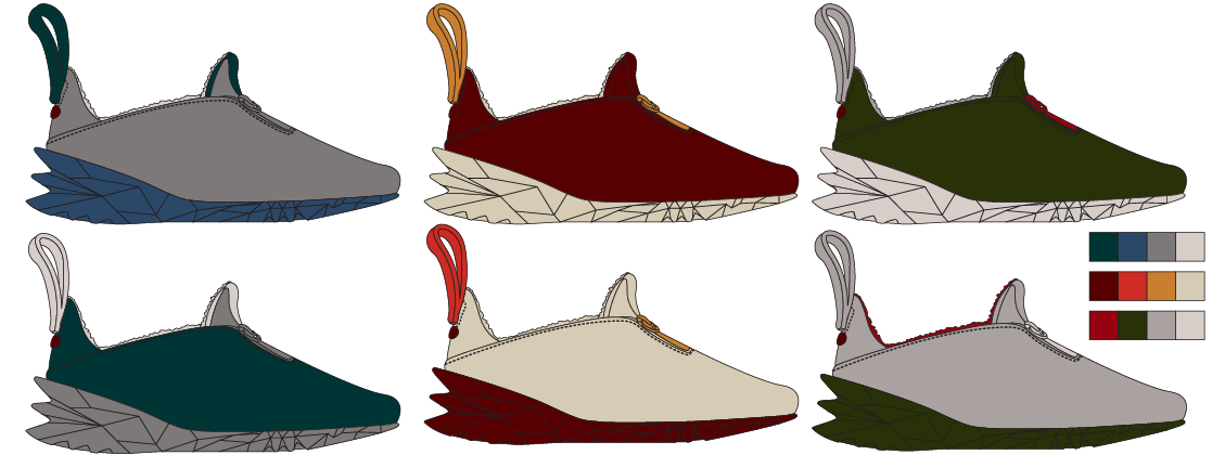 Initial color ways of one of Kevin's round 2 sketches.