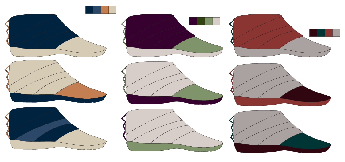Initial color ways of one of Lacey's round 2 sketches.