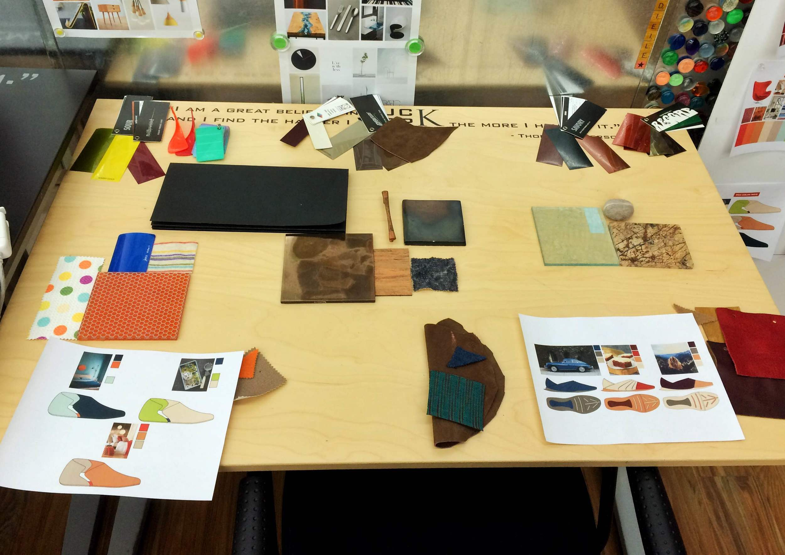 My color and materials table after being slimmed-down for the final presentation.