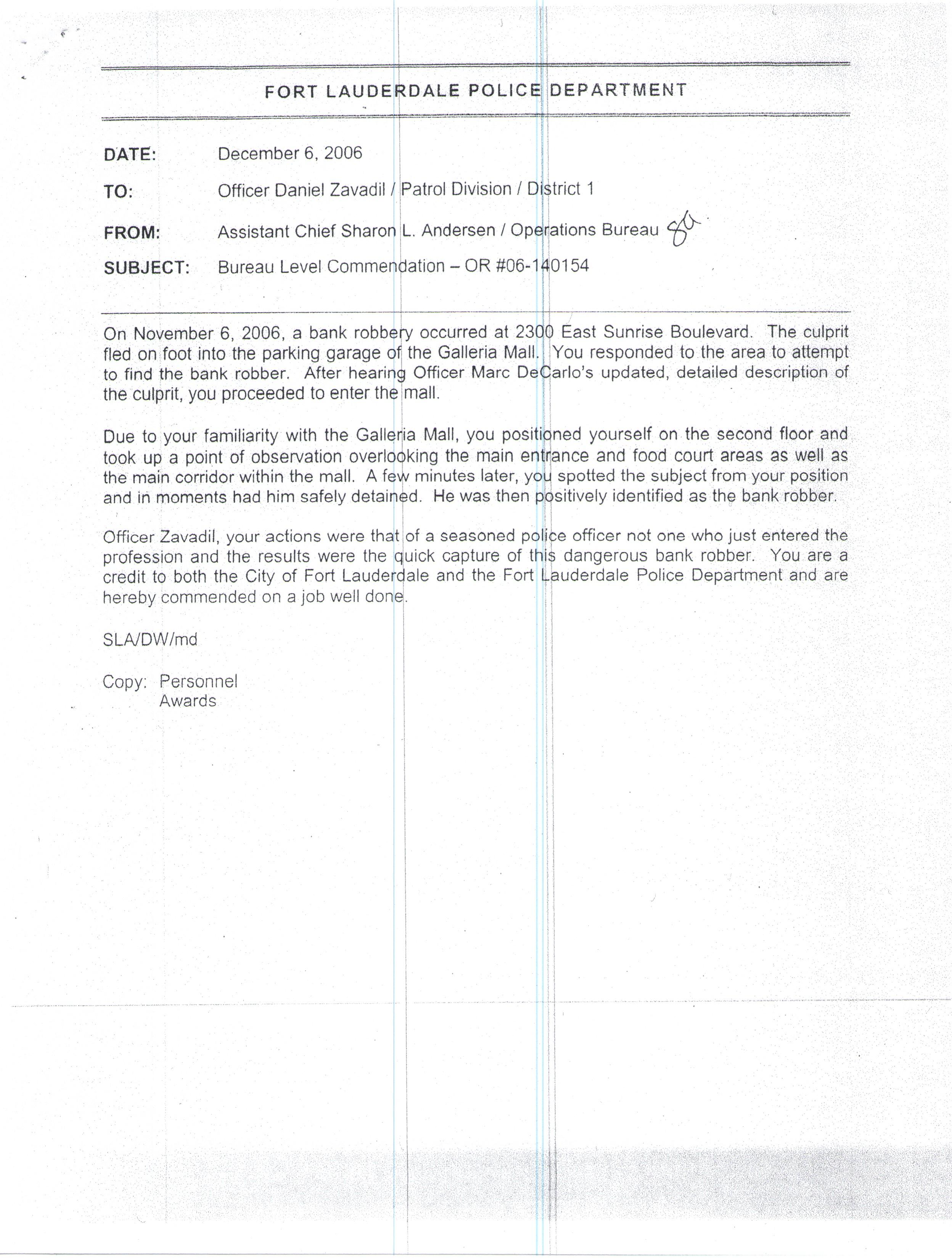 Bureau Level Commendation Capture of Bank Robber.jpg