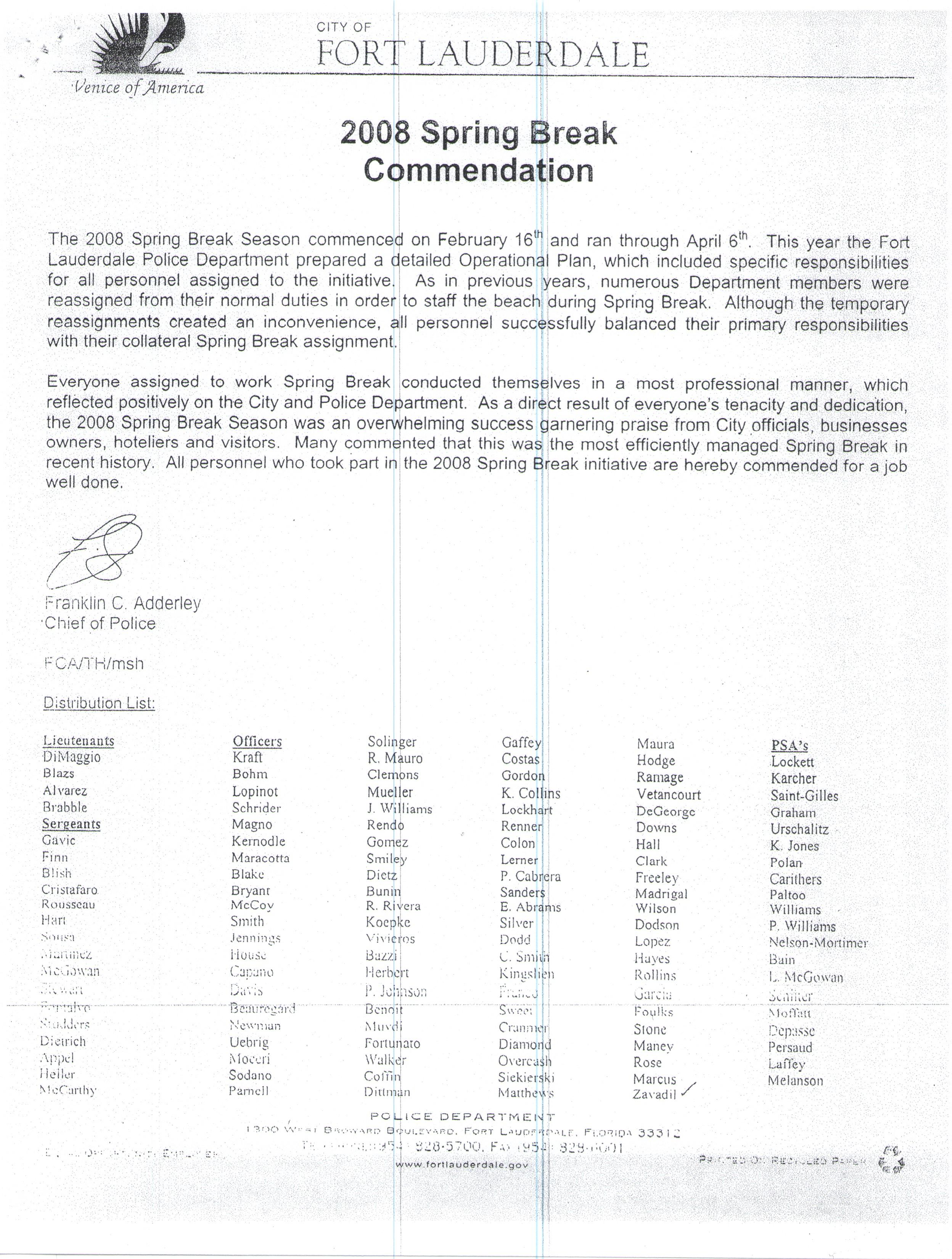 Department Commendation for Assistance during Spring Break.jpg