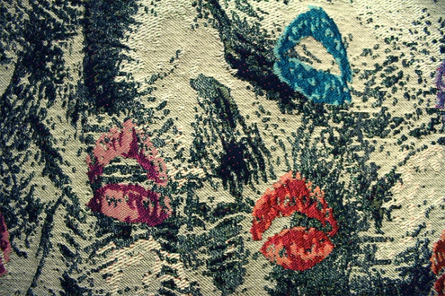 Jacquard piece inspired by makeup. In perfect repeat. All artwork originated by hand. Close up view.