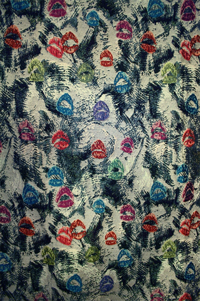 Jacquard piece inspired by makeup. In perfect repeat. All artwork originated by hand.