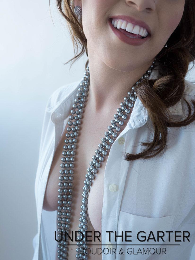 boudoir photography denver shirt pearls smile.jpg