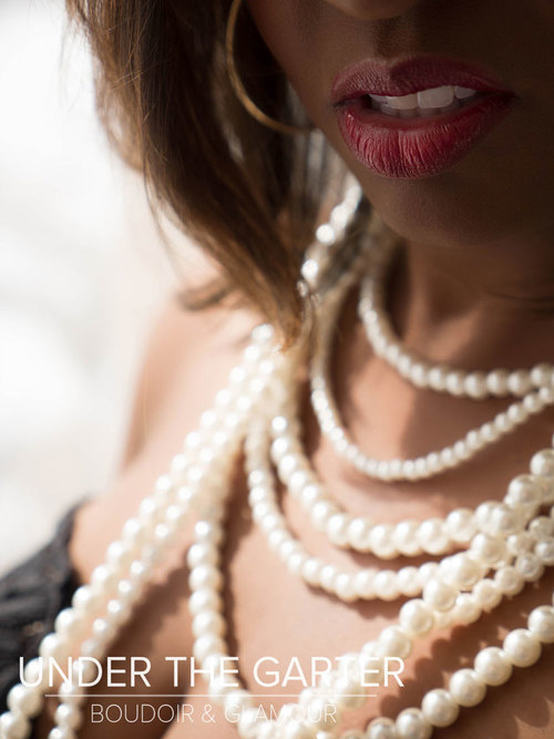 A client breathless in pearls (not a pro model)