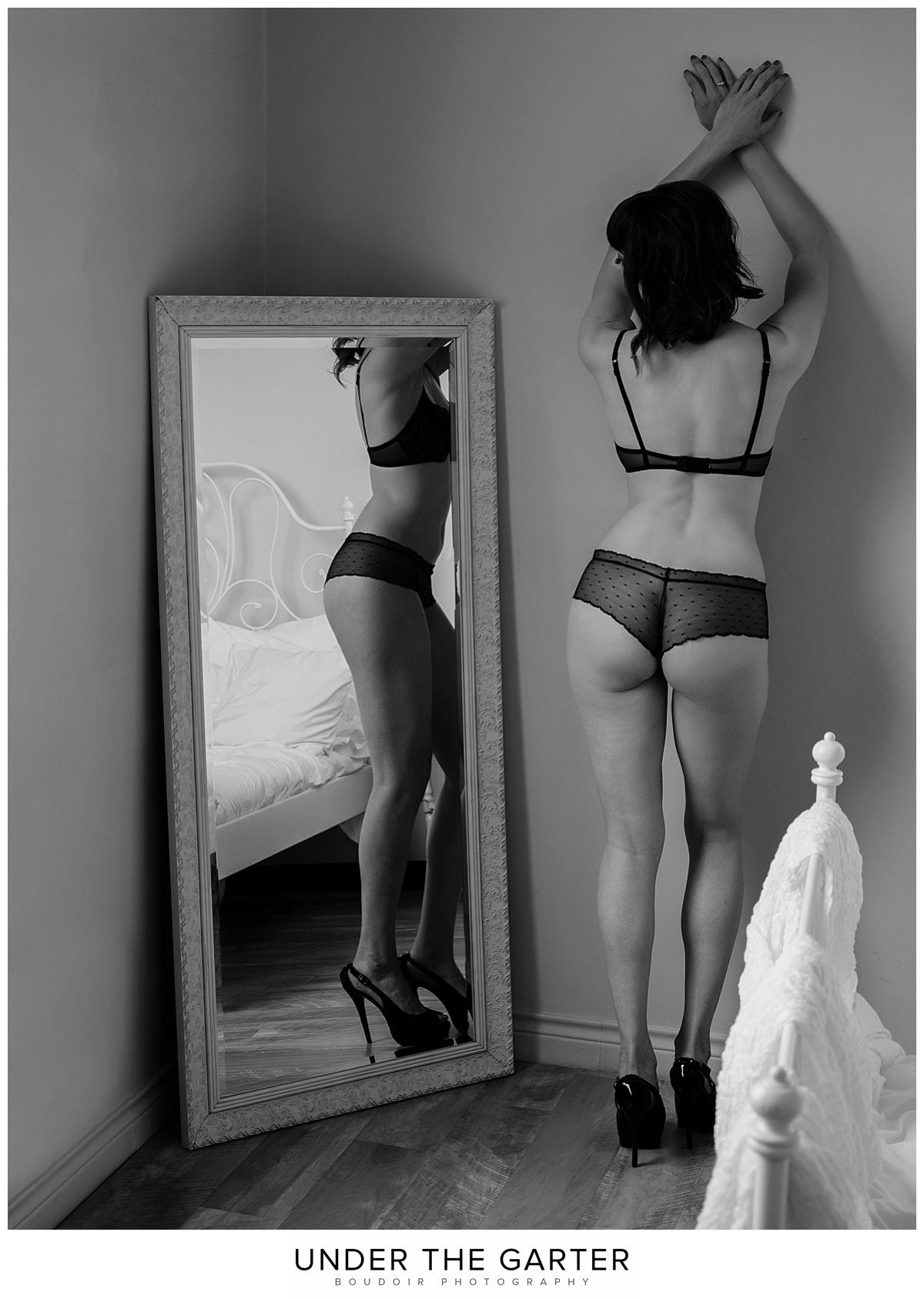 tushie black lace underwear long legs boudoir photography denver.jpg