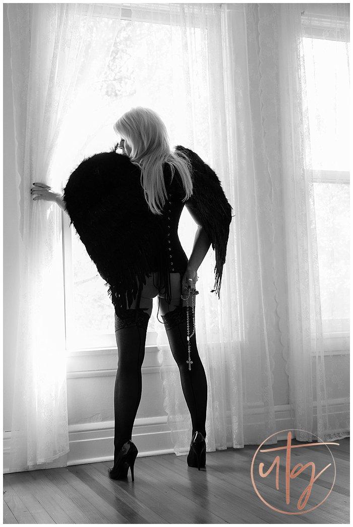 boudoir photography denver bw black angel wings window.jpg
