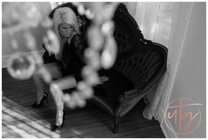 boudoir photography denver seated chaise bw.jpg