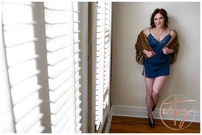 boudoir photography denver blue slip vintage fur.jpg