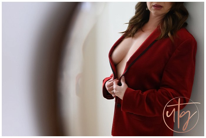 boudoir photography denver red velvet suit jacket.jpg