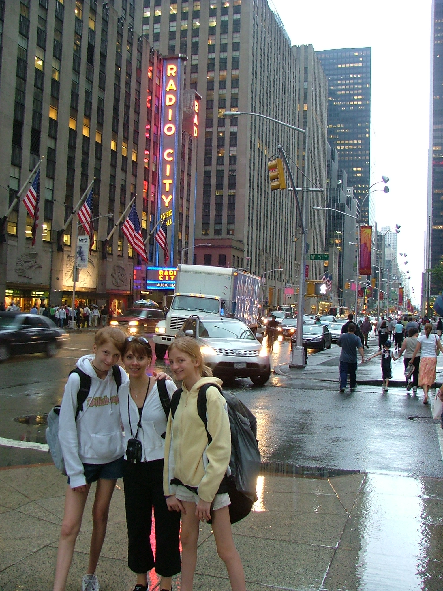 This is me (White hoodie. Notice my knees as the biggest part of my legs), Leslie, and my little sister (Yellow hoodie. Also notice the knees.) in New York enjoying life even in shorts (we seriously hated our legs and we never thought we looked like we did in pictures.).