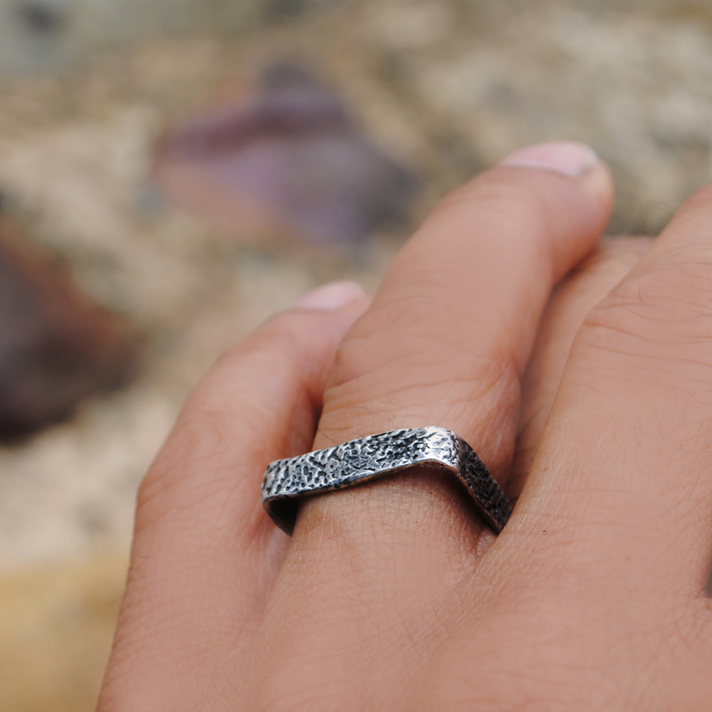 Cuttlefish square ring - sterling silver oxidised