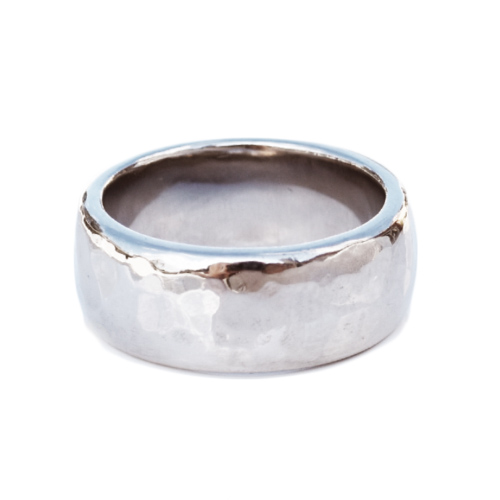 18K white gold hammered band 8.5mm wide