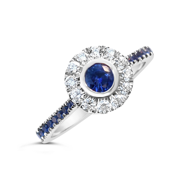 Venice Sapphires Halo Engagement Ring
