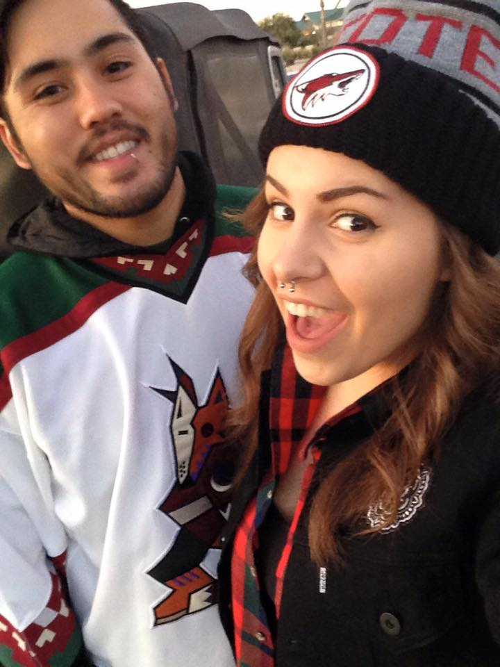 At the Coyotes game, December 2014